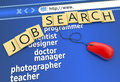 Finding work as a concept job search on the website Stock Photo