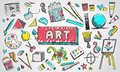 Fine art equipment and stationary doodle and tool model icon