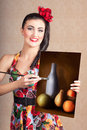 Fine art girl painting still life gallery artwork beautiful brunette wearing retro pinup fashion an artistic picture on canvas Stock Photos