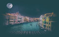 Fine art retro image with gondola on Canal Grande, Venice, It Royalty Free Stock Photo