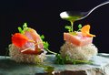 Fine dining, fresh raw ahi tuna sashimi served on an ocean sponge Royalty Free Stock Photo