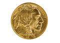 Fine gold Buffalo Coin on white background Royalty Free Stock Photo