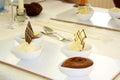 Fine Ice cream dessert with chocolate cake Royalty Free Stock Photo