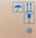 Fine image close up of fragile symbol on cardboard Royalty Free Stock Photos