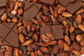 Fine origin chocolate with cocoa beans on white surface Stock Photos