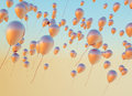 Fine photo of the golden balloons flying Royalty Free Stock Images