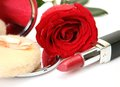 Fine rose and lipstick Royalty Free Stock Image