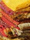 Fine silk brocade saree fabric Stock Photo