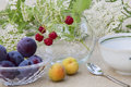 Fine summer breakfast bunch of raspberries in a glass bowl plums apricots a cup of tea and wildflowers Royalty Free Stock Photography