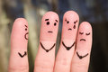 Finger art of people. The concept of a man scolds of people, and they upset. Royalty Free Stock Photo