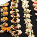 Finger food or appetizers - Meat decorated Stock Photography