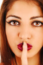 Finger on mouth. Royalty Free Stock Photo