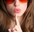 Finger near lips Royalty Free Stock Photo