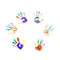 Finger paint hand prints Stock Photo