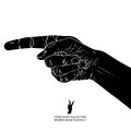 Finger pointing hand, detailed black and white vector Royalty Free Stock Photo