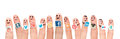 Finger with popular social media logos printed on paper. Royalty Free Stock Photo