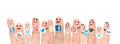 Finger with popular social media logos printed on paper belchatow poland august happy group of smileys and stuck to the fingers Royalty Free Stock Photos