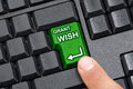 Finger pressing grant wish key top view of black desktop wireless computer empty keyboard with enter replaced with green that is Royalty Free Stock Images
