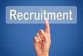 Finger pressing recruitment button Royalty Free Stock Photo