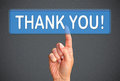 Finger pressing thank you button hand of woman with blue on interactive screen Stock Images