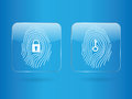 Finger print glass button log in and log out Stock Image