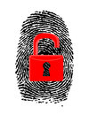 Finger Print with unlocked, red u-lock Royalty Free Stock Photography