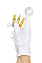 Finger puppet holding three drug ampules happy over white background Royalty Free Stock Images