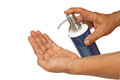 Finger pushing soap dispenser Royalty Free Stock Photo