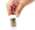 Finger put coin on coin Royalty Free Stock Photography