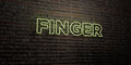 FINGER -Realistic Neon Sign on Brick Wall background - 3D rendered royalty free stock image Royalty Free Stock Photo