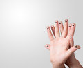 Finger smileys with copyspace Stock Photography