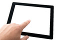 Finger touching tablet pc with blank screen Stock Photos