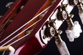Fingerboard of classic guitar close up view on over black background Stock Photography