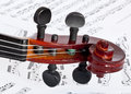 Fingerboard fiddle on notes background Royalty Free Stock Image