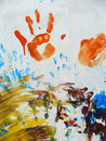 Fingerpaint on wall Stock Photography