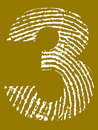 Fingerprint Alphabet - Number 3 Stock Images