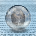 Fingerprint and binary code enclosed in glass Stock Images