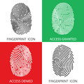 Fingerprint icon set. Vector illustrations. Royalty Free Stock Photo