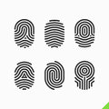 Fingerprint icons set on white Royalty Free Stock Image