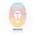 Fingerprint lightbulb color vector design illustration Stock Photography