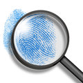 Fingerprint through magnifying glass Stock Images