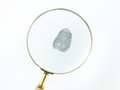 Fingerprint through magnifying glass top view of a viewed a against a white background Royalty Free Stock Photos