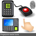 Fingerprint reader icons collection of different along with pointing hand Stock Photos