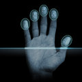Fingerprint scanner modern scanning device biometric security system Royalty Free Stock Image