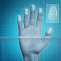 Fingerprint security futuristic scanning device biometric system Stock Images