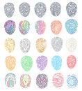 Fingerprint vector fingerprinting identity with fingertip identification illustration set of fingering print and Royalty Free Stock Photo