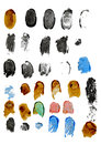 Fingerprints of different colors isolated on white background Royalty Free Stock Images