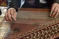 Fingers Playing Arabian Qanon Musical Instrument Royalty Free Stock Photo