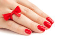 Fingers with red manicure  Stock Photos