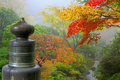 Finial on Wooden Bridge in Japanese Garden Royalty Free Stock Photo